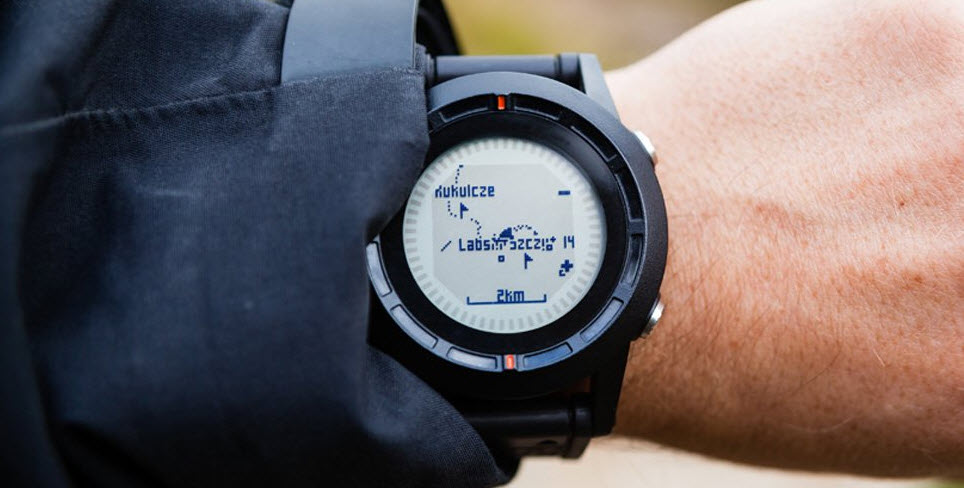 hiking watch on hand with gps